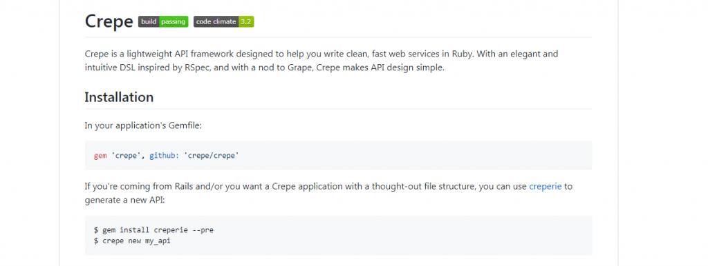 Crepe Ruby Framework