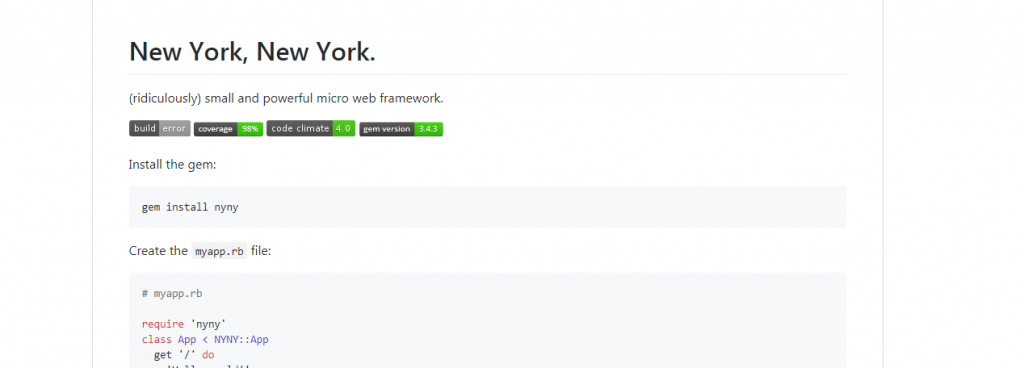 NYNY Ruby Framework