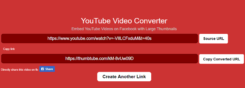 yt2fb thumtube new share url