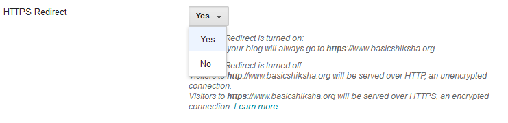 Enable https redirect YES