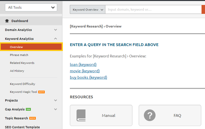 SEMRush keyword research overview