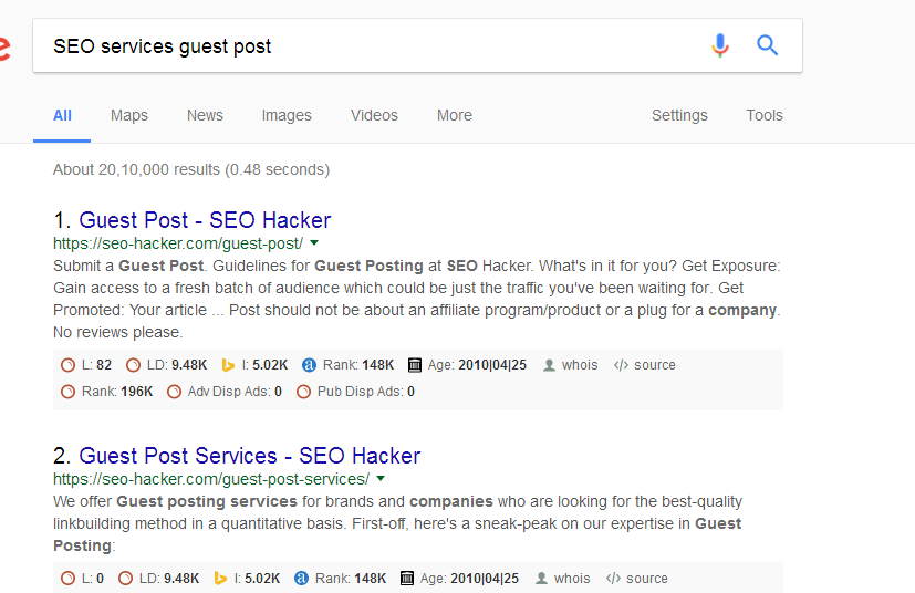 SEO services guest post Google search