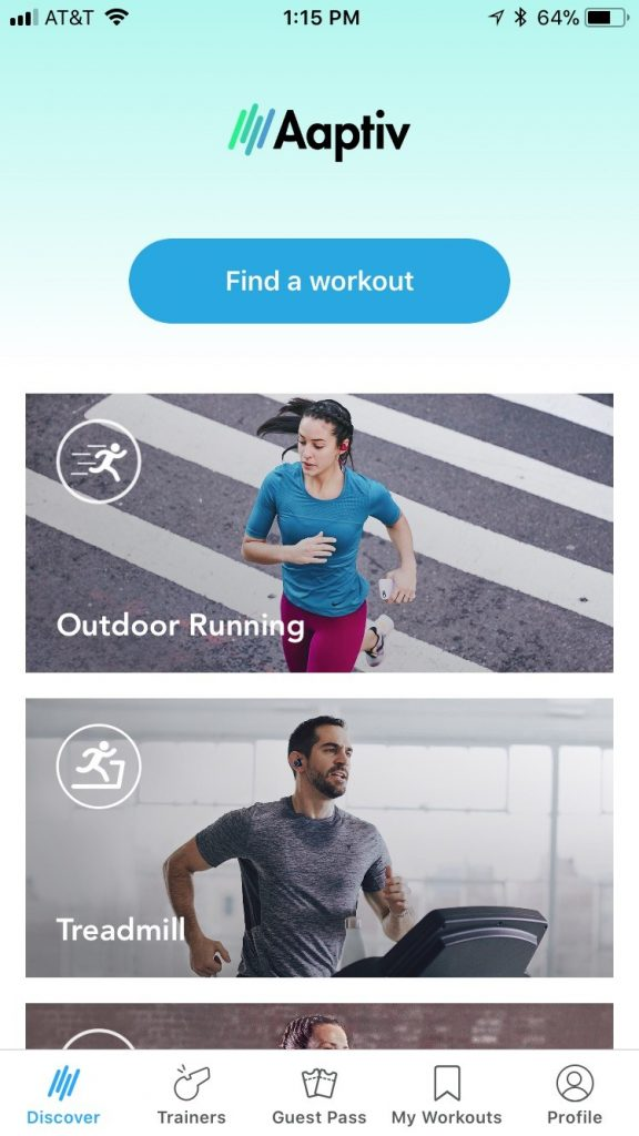 Aaptiv find a workout