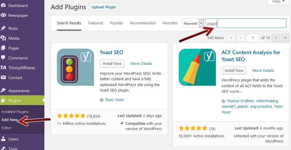 Add new WP plugin search