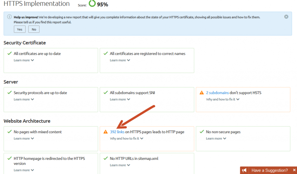 SEMRush - Site Audit - HTTPS implementation errors