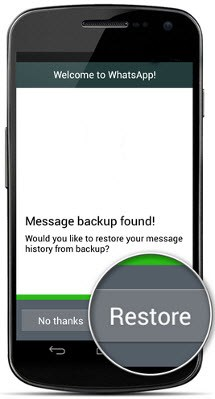 WhatsApp message restore Android mobile
