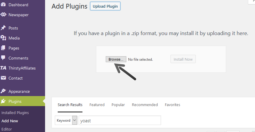 WP add plugins browse