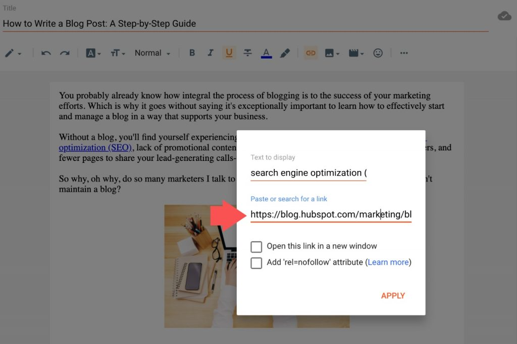 Add a link to a blog post