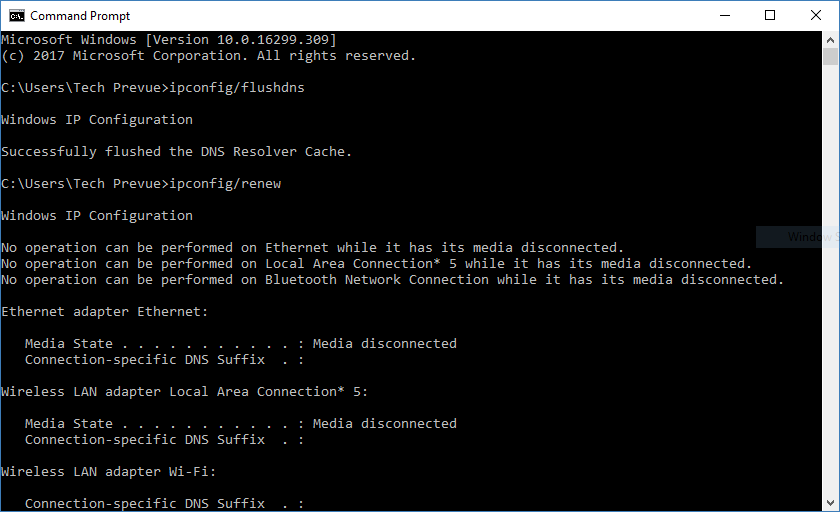Command prompt Flush DNS