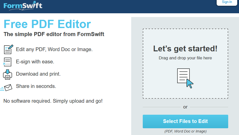 Formswift- Edit pdf documents