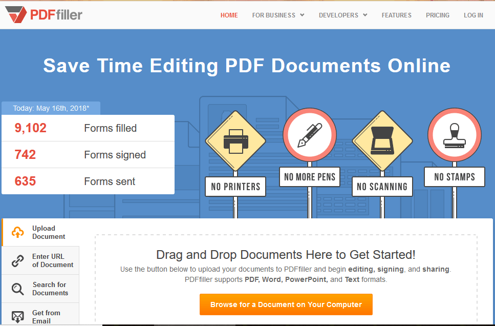 pdffiller- save time editing pdf online