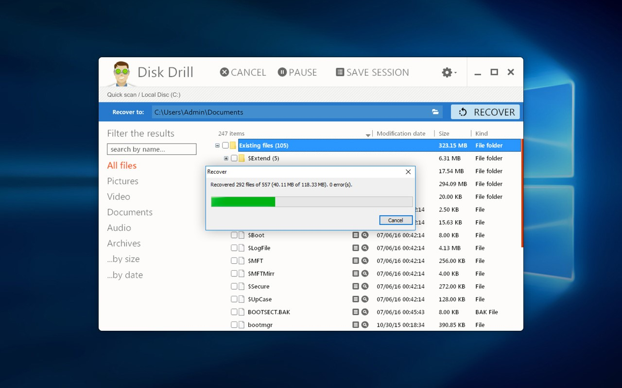 Disk drill recovering files