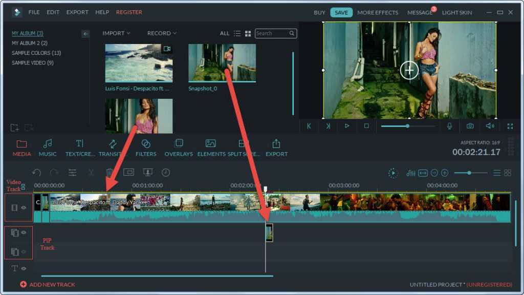 Filmora add clip to timeline