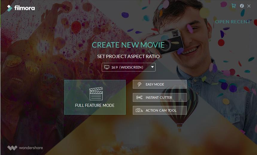 Filmora create project