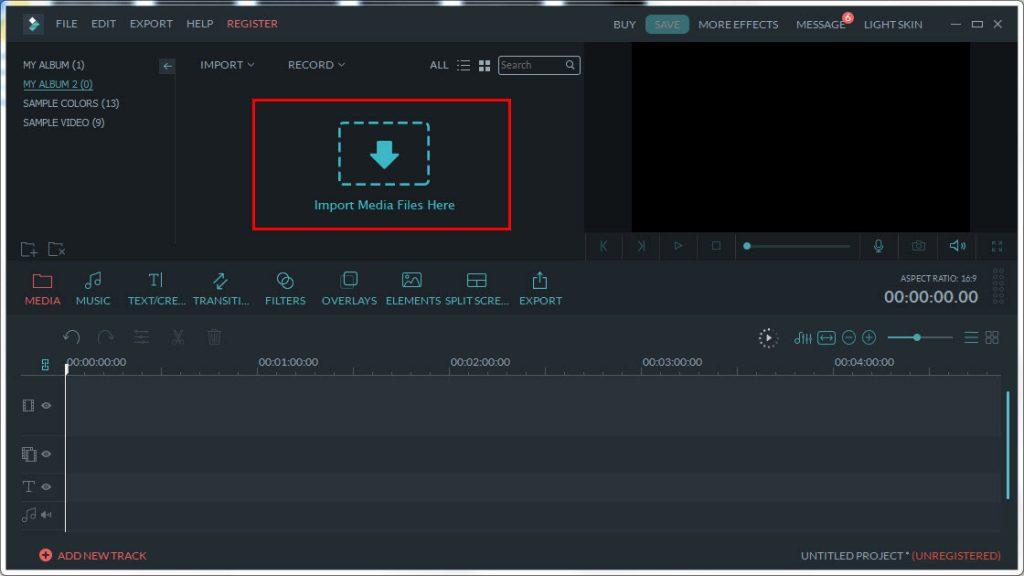 Filmora import media files