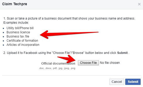 Claim a Facebook page with documents