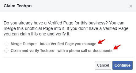 Methods to claim a Facebook page