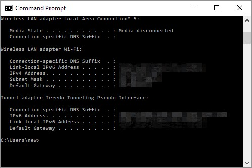 Command prompt ipconfig output