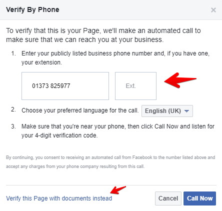 Claim a Facebook Places page - Verify with phone number