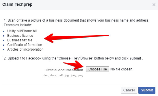 Claim a Facebook Places page for your business with document upload