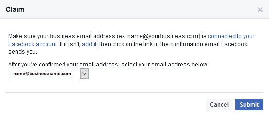 Facebook page claim confirm email