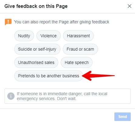 Facebook: Give feedback on this page pretend to be another business