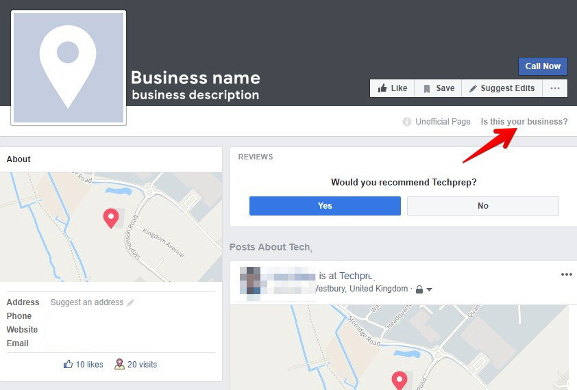 Is this your business? Facebook option
