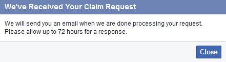 Facebook received claim request