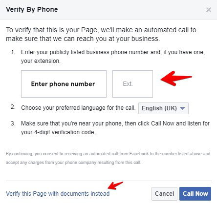 Verify by phone Facebook page