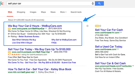 Search engines ads