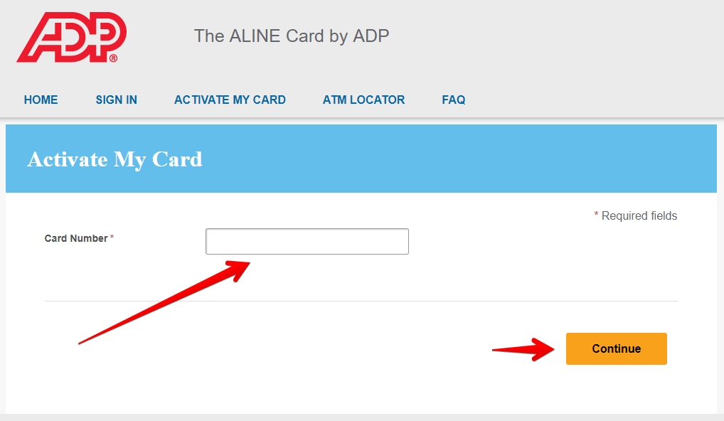 Activate your Aline Card by ADP