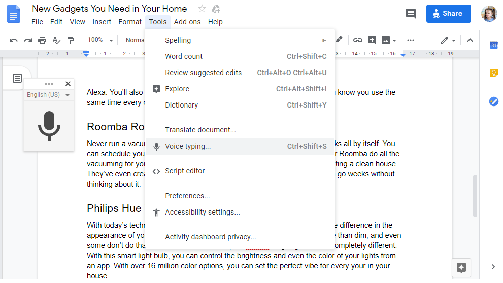 Google Docs Speech to Text