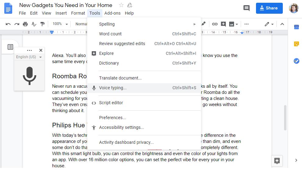 Voz a texto de Google Docs