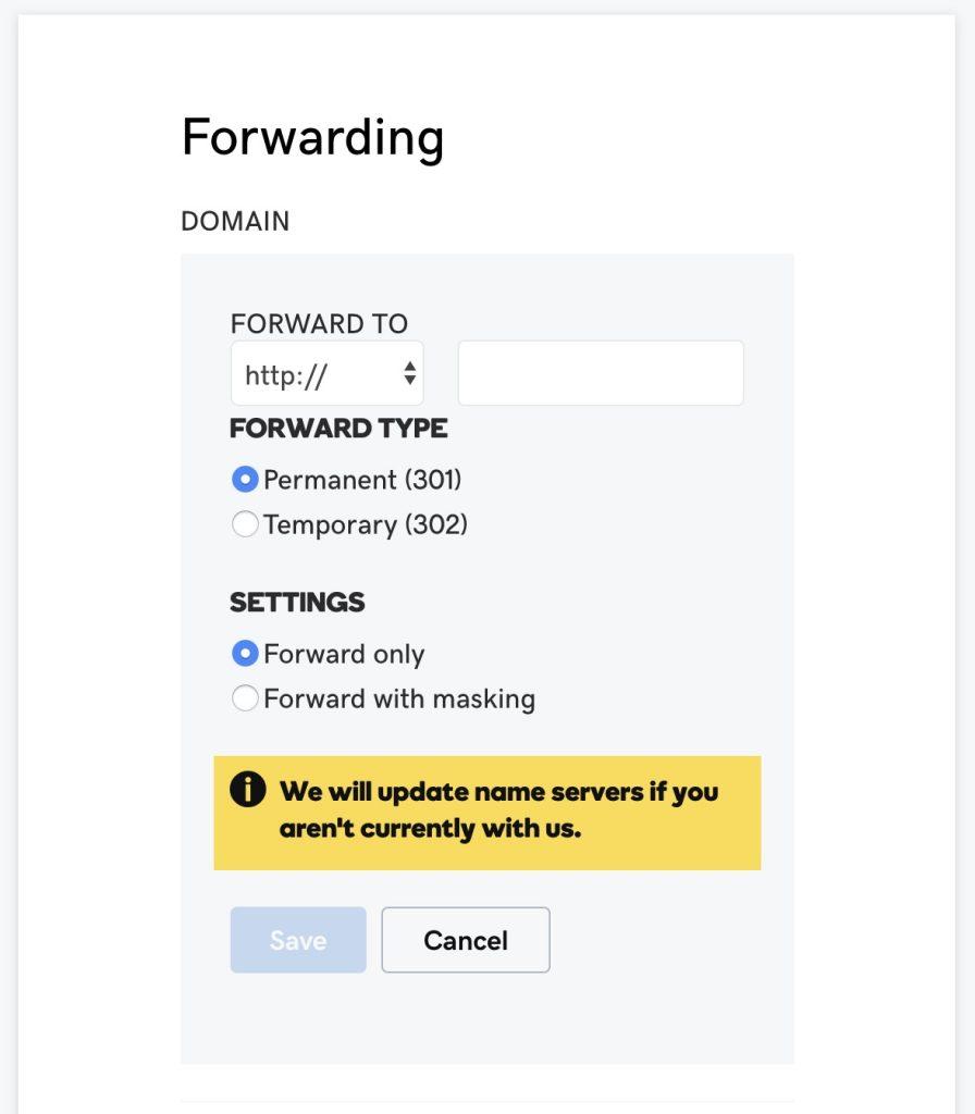 Godaddy domain forward type
