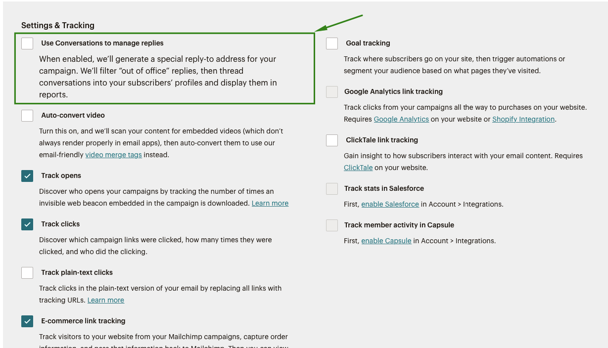 MailChimp - Settings and tracking
