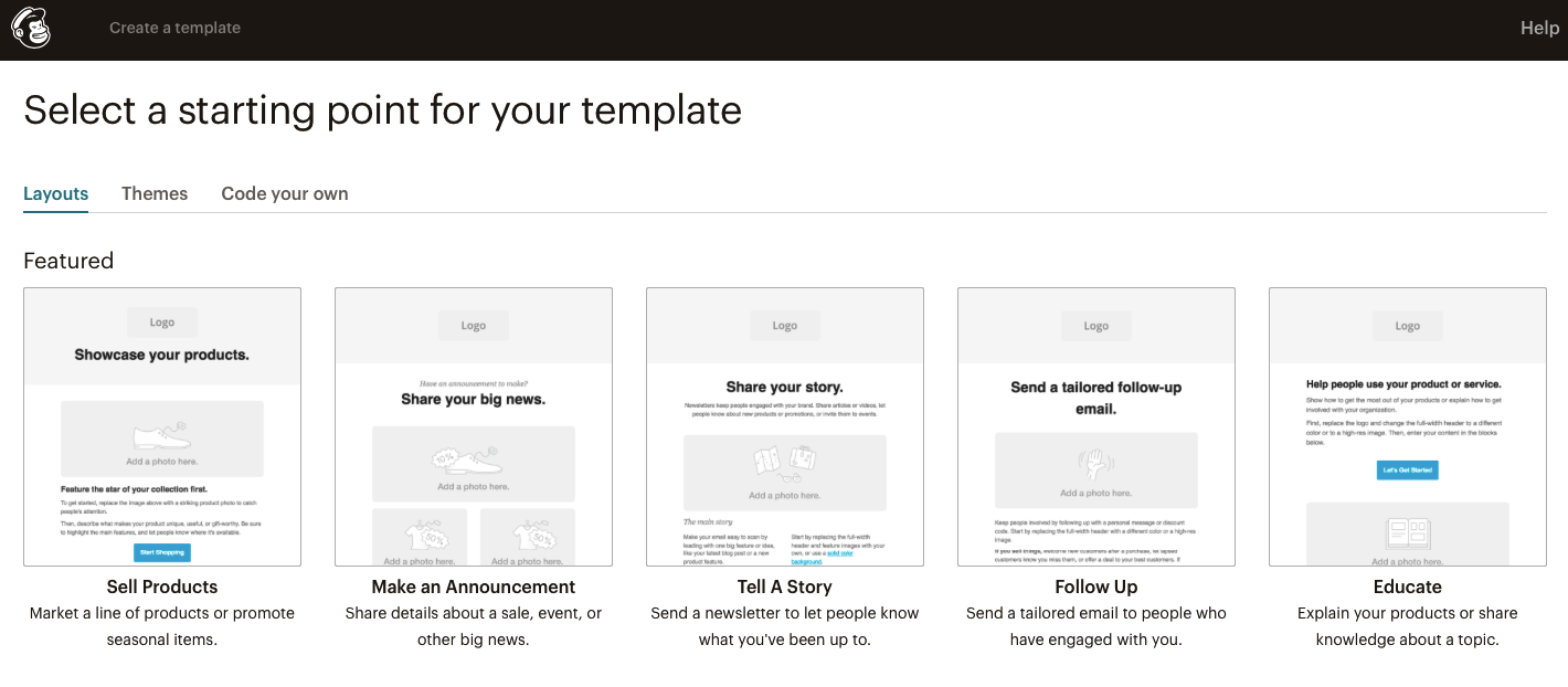 Select MailChimp Email Template