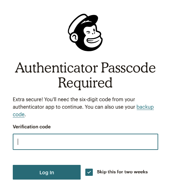 MailChimp Passcode Required