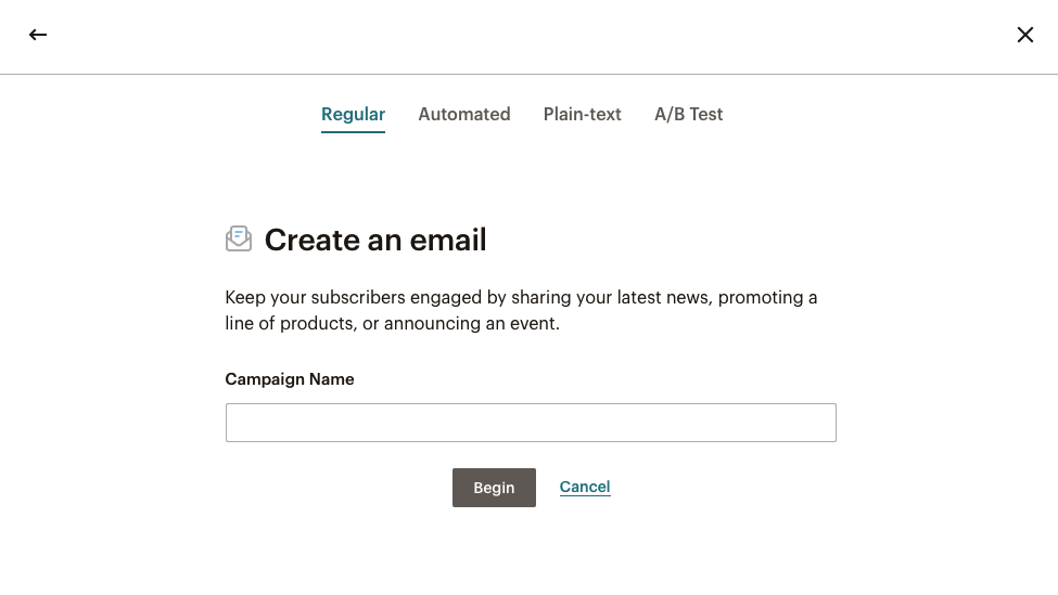 MailChimp - Create an email