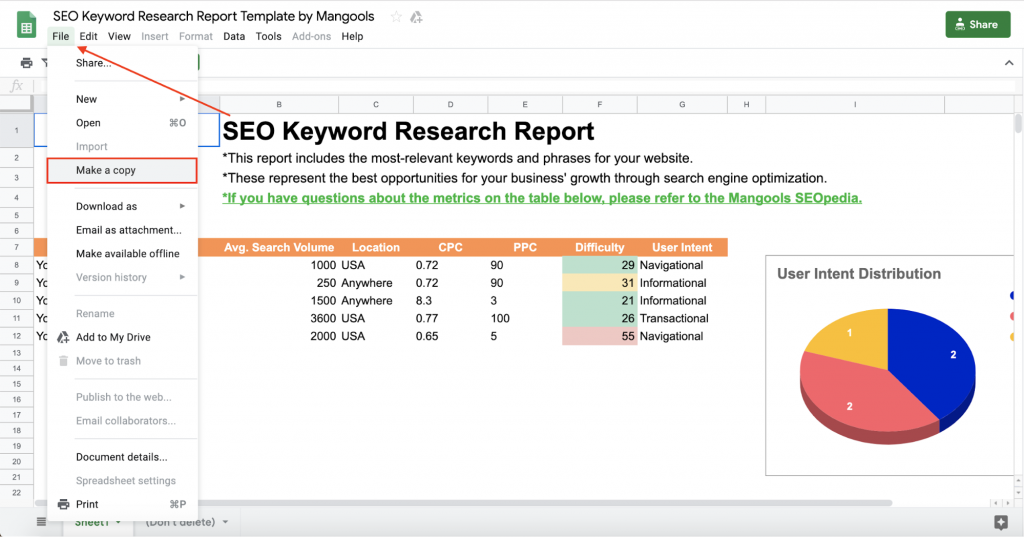Make a Copy of SEO Keyword Research Report
