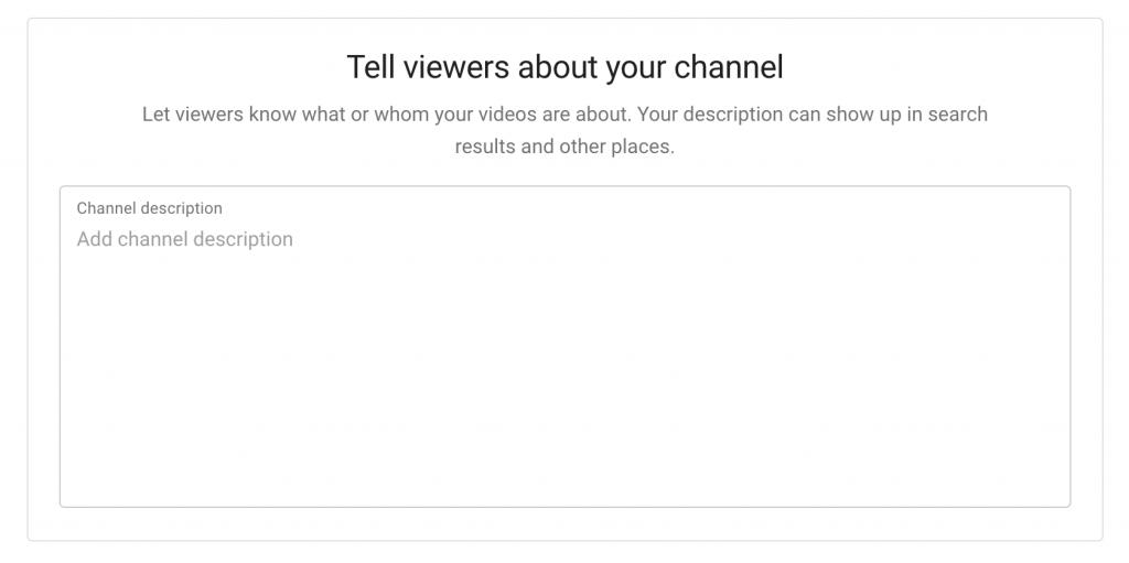 Add a YouTube channel description