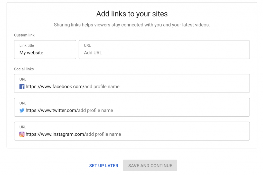 Add custom link and social links to your YouTube channel
