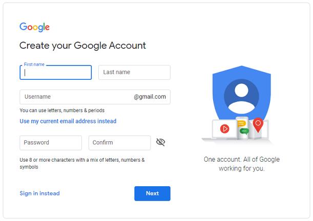 انشئ حسابك في جوجل