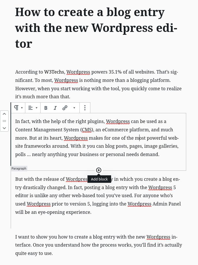 WordPress blog post add block