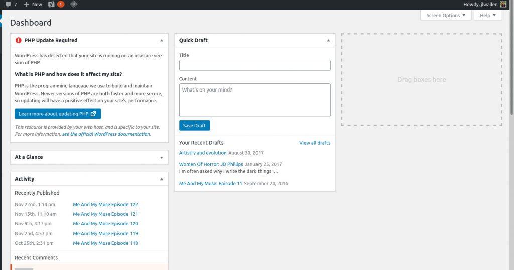 WordPress blog post admin dashboard