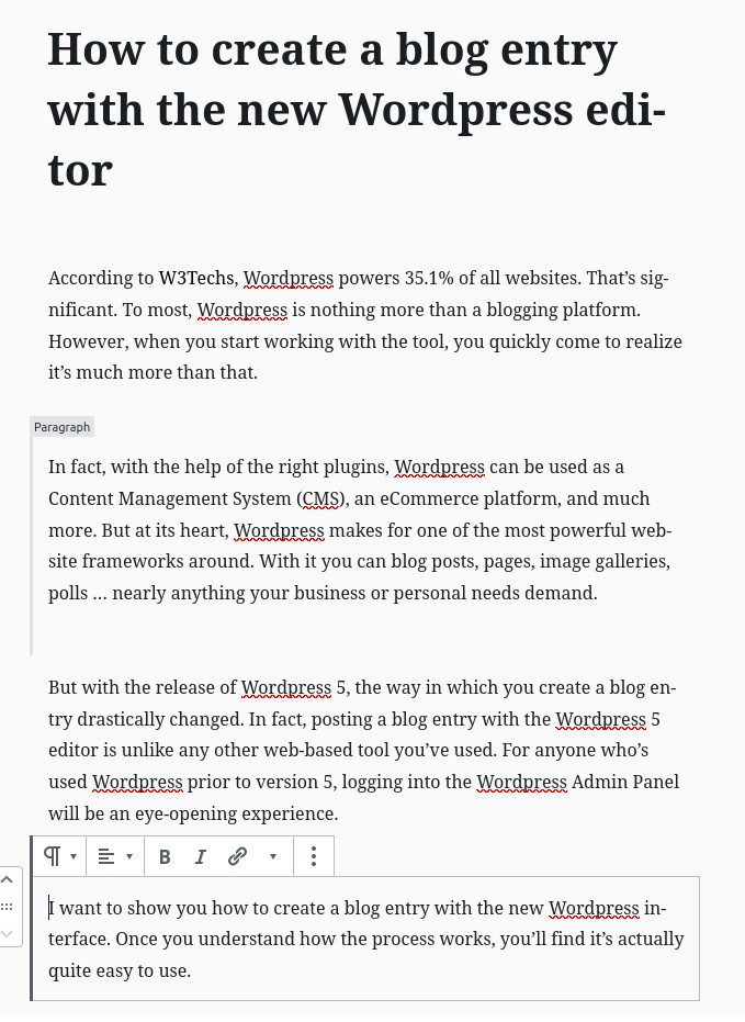 WordPress blog post new paragraph