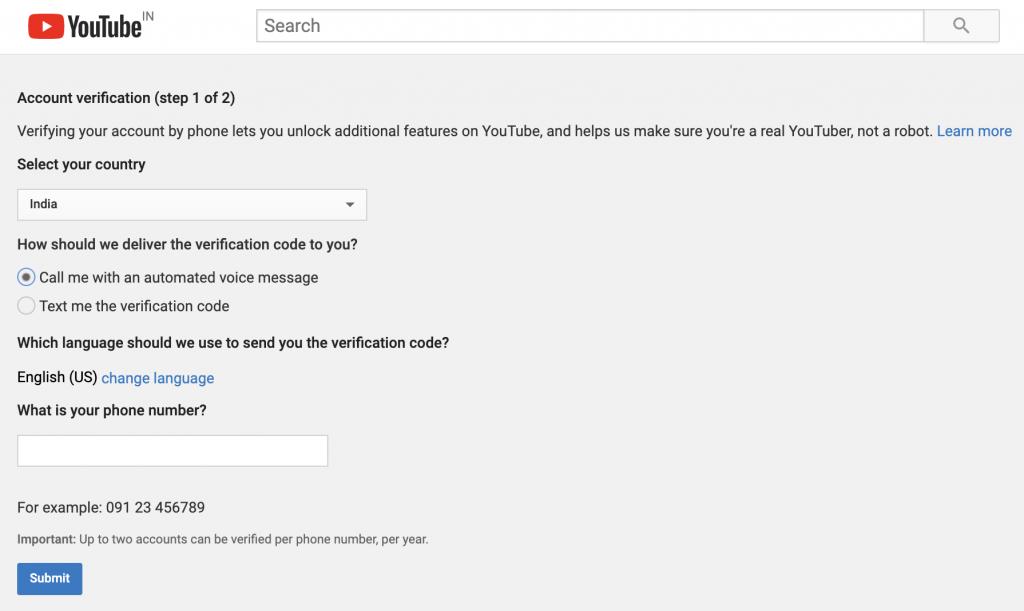التحقق من قناة يوتيوب