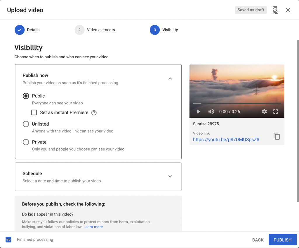 YouTube - Publish now Option