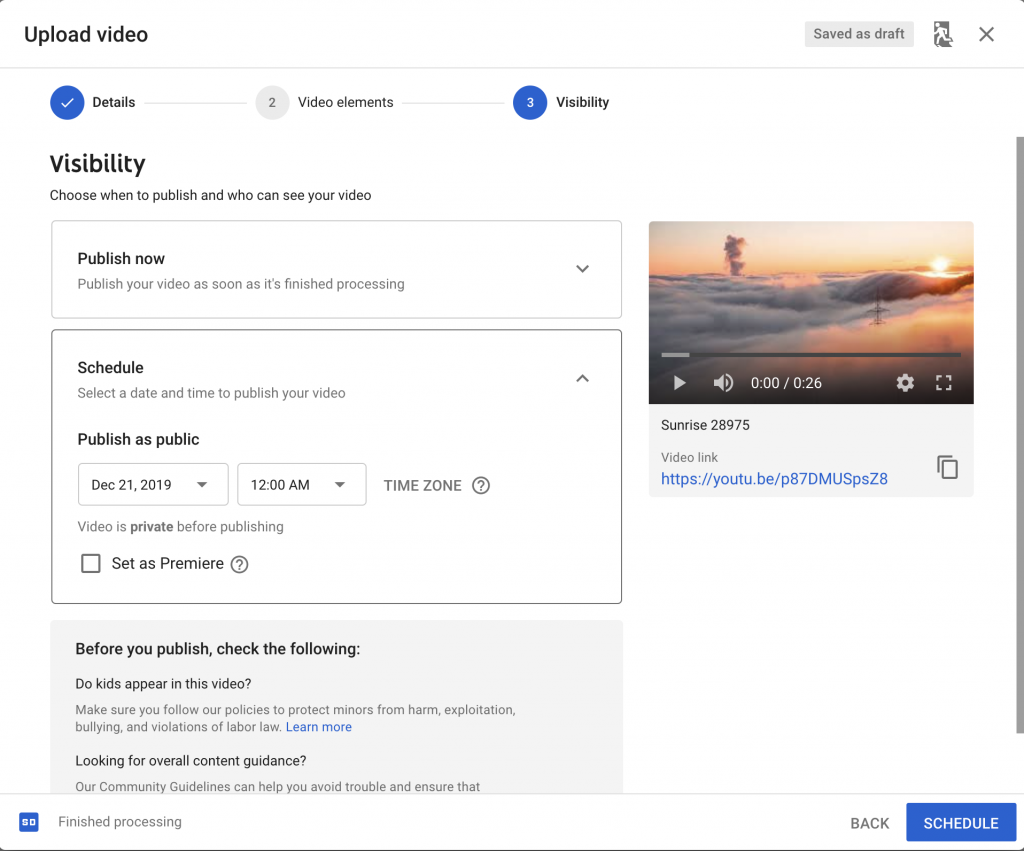YouTube - Schedule publish options