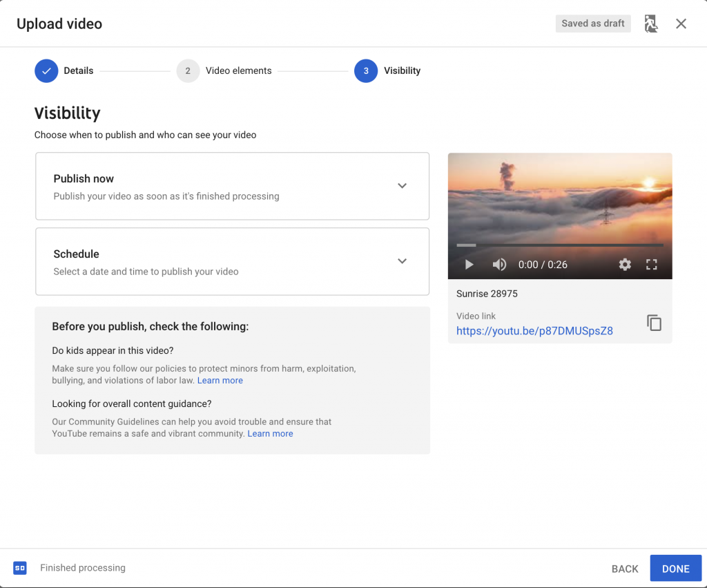 Select YouTube video visibility options