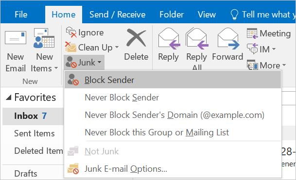 Block senders